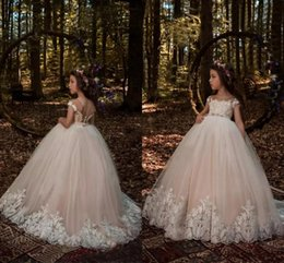 Wholesale Ivory Wedding Dress Beaded Sash - Princess Cap Sleeves Flower Girls Dresses 2017 Light Champagne Ball Gown Tulle with White Lace Appliqued Beaded Sash Girls Pageant Wear
