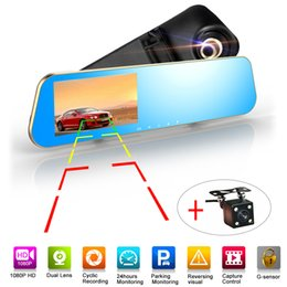 "Wholesale anti camera car - 1080P+ 720P HD Car DVR Wide Angle Anti-glare Blue Mirror Monitor Dual Lens 4.3"" LCD screen Camera DVR"