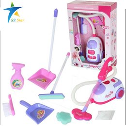 Wholesale House Appliances - Simulation Appliances Toy Cleaner ABS plastic Cleaning Kit Tool Electric vacuum cleaner for kids Play house toys pinks 1:8