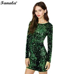 Wholesale Bohemian Sequin Chiffon Dress - Wholesale- Sequin Dress Women 2017 Special Occasion Bodycon Dress Party Sequined Dresses Long Sleeve Mini Dress Green Vestidos
