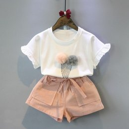 Wholesale Elegant Baby Outfit - Toddler Summer Elegant Outfit Clothes Kids Baby Girl Ruffled Top Ice-cream Pattern White T-shirt+ Pink Pants Suit 2pcs 3-8T