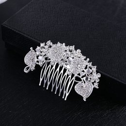Wholesale Rhinestone Leaf Hair Comb - New Arrival Sparkly Austrian Crystal Wedding Comb Tiara Handmade Silver Plated Leaf Bridal Hair Comb Jewelry Accessories for Women