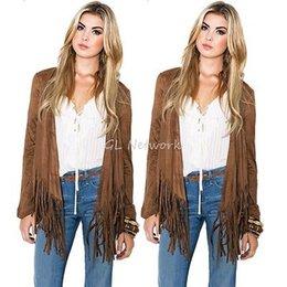 Wholesale Cardigan Women Outfit - Wholesale- Spring Fall Women Clothing Outwear Outfits Fashion Short Cardigan Coat Tassel Fringe Casual Loose Jacket Chic Khaki