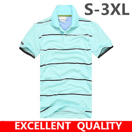 Wholesale Men S Business Casual Shirts - Men Polo Shirt 2017 Summer Men Business Crocodile Embroidery Casual Breathable White Striped Short Sleeve Polo Shirt 100% Cotton Clothes