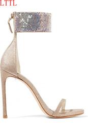 Wholesale White Shine Wedding Shoes - Shining Rhinestone Peep Toe Women Sandals Shoes Sexy Open Toe Thin Heel Shoes Woman Bling Crystal Ankle Strap Wedding Bridal Shoes
