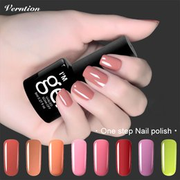 Wholesale One Step Uv Nail Polish - Wholesale- Verntion 8ml 3in1 Gel Polish Soak Off UV Gel lacquer vernis semi permanent nail art professional One Step UV Gel Nail Polish