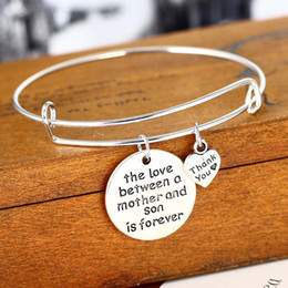 mother son charms Promo Codes - Wholesale- Love Between Mother And Son Bracelet Heart Thank You Charm Family Love Mother's Gifts Mom jewelry Female
