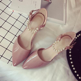 pink buckles NZ - Spring Korean version of the pink patent leather rough with the shoes pearl ankle buckle side hollow pointed high-heeled shoes