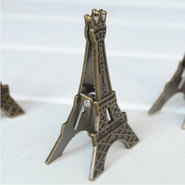Wholesale Eiffel Tower Place Card Holders - Wedding Table Decoration Bronze Eiffel Tower Place Name Card  Photo Holders Silver Eiffel Tower Table Number Clip+DHL Free Shipping