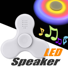 Wholesale Wholesale Vehicle Lights - LED Light Bluetooth Hand Fidget Spinners Music Spinner EDC Plastic Decompression Toy and Pressure Relief With Retail Package