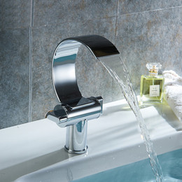 """Wholesale Basin Faucet Waterfall Chrome - Deck Mounted Bathroom Waterfall Faucet For Cold and Hot Faucet Tap Curve Brass Single Hole Basin Taps """"C' Model Chrome Faucets"""