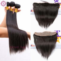 Wholesale 4bundles Virgin Indian Hair - Peruvian Virgin Straight Hair 13x4 Ear to Ear Lace Frontal Closure With Bundles 8A Human Hair 3 4Bundles With Lace Frontal