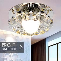 Wholesale Crystal Ceiling Led Spotlight - Crystal porch light Corridor Light Dream Color Mask Crystal Led Ceiling Lamp 3W Led Down Light Spotlight 3W AC85-265V Bedroom