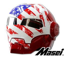 Wholesale Motorcycle Helmets Flip - MASEI IRONMAN Motorcycle Skull Open Face Helmet Color:usa flag Casco Capacete Flip Up Motorcycle Helmet DOT approved motorbike automic man