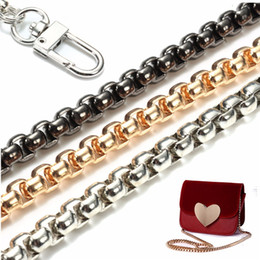 Wholesale Replacement Chains - wholesale Top Quality 120cm x 6mm Stainless Steel Purse Chain Strap Handle Shoulder Crossbody Handbag Bag Metal Replacement 3 Color