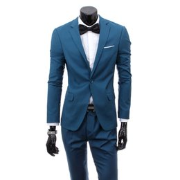 Wholesale Korean Casual Suits For Men - Wholesale- 9 colors hot sale terno masculino freeshipping new mens business casual suit Korean slim fit wedding suits for men two piece set