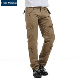 Wholesale Overalls Male - Wholesale- baggy cargo pants men outerwear overalls zipper pockets male loose brand trousers top quality men pant long pantalon homme 219