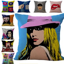 Wholesale Blending Oil Paints - Oil Painting American Fashion Pillow Case Cushion cover Linen Cotton Throw Pillowcases sofa Bed Pillow covers DROP SHIPPING