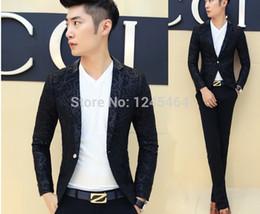 Wholesale Velour Suits For Men - Wholesale- bleiser masculino blaser latest blazer designs casual suit for men velvet Embroidery stylist men blazer slim fit suit jacket