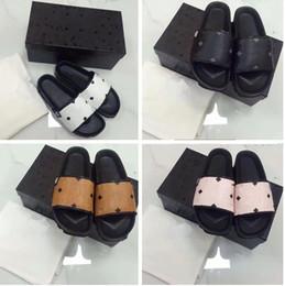 Wholesale Eva Letter - Newest M slide sandals slippers for women WITH BOX BEST QUALITY women brand Designer letter Genuine leather flip flops slipper