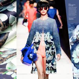 Tecido de impressão orquídea on-line-135 * 140 cm de largura 14mm orquídea impressão tecido de organza de seda azul para camisa de vestido calças de roupas D033