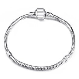 Wholesale 3mm Silver Chain European - 3mm 17-21cm 925 Silver Plated Bracelet Chain Snake Chain with Barrel Clasp Fit European Beads Bracelets With Without Logo DIY