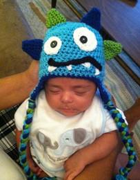 Wholesale Dino Hats - Monster Crochet Knitted Hat Baby Boys Girls Winter Christmas Dino Caps Newborn Infant Toddler Kids Children Animal Beanie Cotton Photo Props