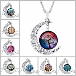 Wholesale Moon Gem - Wholesale Hollow carved moon life tree time gem necklace H0602