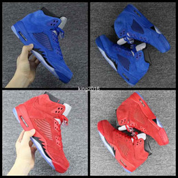 Wholesale Bulls Balls - Wholesale 2017 Retro 5 V Raging Bull Red Royal Suede Blue Mens Basketball Shoes Sports Sneakers Trainers Men Retro 5s Basket Ball Shoe