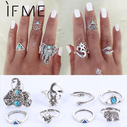 Wholesale Vintage Knuckle Rings - 8PCS Set Fashion Vintage Bohemian Midi Brand Ring Set Steampunk Elephant Anillos Ring Knuckle Rings for Women Anel Ring 2016