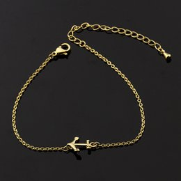 Wholesale Gold Charm Anchors - Wholesale 10Pcs lot 2017 Hot Sale Fashion Gold Bracelets For Men Snap Jewelry Bracelets Simple Anchor Silver Charm Bracelets For Women