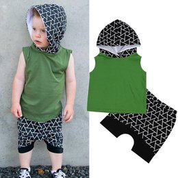 Wholesale Toddler Vests - 2Pcs Baby Boys Clothing Set Summer Toddler Baby Sleeveless Tops Vest+ Geometric Shorts Outfits Tracksuit