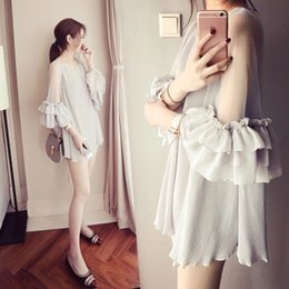 Wholesale Chiffon Pleated Gauze Dress - Snow spins unlined upper garment of female paragraph bud silk gauze Render Unlined Upper Garment Grows In Short sleeve shirt dress summer ha