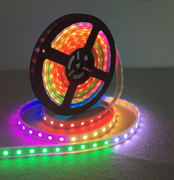Wholesale Addressable Led Strips - Non waterproof DC5v 5m 300 leds 60 pixels m 5050 SMD ws2812 ws2811 RGB led strip lights white PCB Programmable Addressable Free shipping