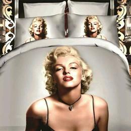 Wholesale Marilyn 3d - High Quality 3D Marilyn Monroe Bedding Sets Fashion Patterns Design Bed Set Black 4 Pces Comforter Sets Drop Shipping
