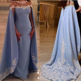 Wholesale Satin Cloak Red Lining - Saudi Arabic Long Evening Dresses Cape Style Sheer Neck Satin Sheath Prom Dresses With A Cloak Lace Appliques Formal Party Gowns