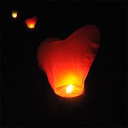 Wholesale Color Sky Lanterns - Flame Retardant Paper Wishing Sky Lamp No Pattern Heart Shape Kongming Lanterns Multi Color Light Factory Direct Sales 0 8hs R