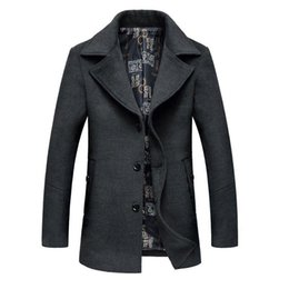 Wholesale Mens Overcoat Spring - Fashion- Men€s Wool Jackets Overcoat Plus Size 5XL Spring Autumn Brand Men Manteau Homme Woolen Jackets And Coats Mens Warm Wool Over