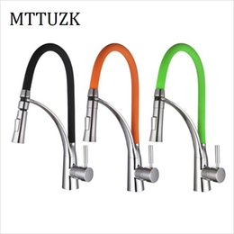 Wholesale Cold Hot Water Faucet - Wholesale- Free Shipping single handle kitchen mixer tap.deck mounted black kitchen faucet.Dual Sprayer Nozzle Hot Cold Mixer Water Taps