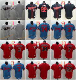 Wholesale Dark Green Jersey - 2017 Flexbase MLB Stitched Minnesota Twins Blank 3 Killebrew 7 Mauer 22 Sano 34 Puckett Red White Dark Blue Light Baseball Jersey Mix Order