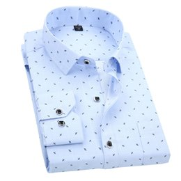 Wholesale Men Fancy Shirts - Wholesale- Uni-Splendor 2017 Autumn Men Fancy Shirts Flower Fashion Long Sleeve Man Shirt Print Business Casual Man Dot Dress Shirts YN577