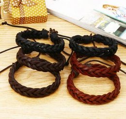 Wholesale Free Handmade Christmas Gifts - Handmade Men's Genuine Leather Braided Bracelets Jewelry for Women Great Price Mix Order Factory Price Wholesale free shipping