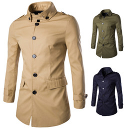 Мужское длинное однобортное пальто онлайн-Wholesale- M-XXXL Men's trench coat turn-down collar Mens Trench Coat Fashion Single Breasted Slim Casual England Style Long Trench Coat
