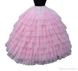 Wholesale Lace Petticoats - Cheap Lace Tiers Pink Bridal Dance Dress Costume Petticoat Underskirt Slip Tutu Dance Wedding Dress Skirt Bridal Crinoline