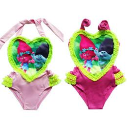 Wholesale Swimming Suits Childrens - Childrens Swimsuit Baby Girls One Pieces Swimsuit Children Cartoon Lace Heart Shaped Swimwear Bikini Girls Swim Suits