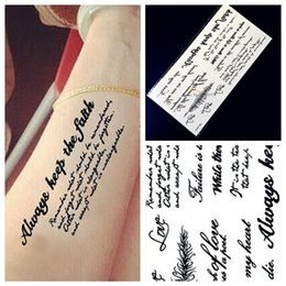 Wholesale Temporary Tattoos Stickers Words - Wholesale- 1PC Indian Body Arm Black Feather Words Temporary Tattoo Sticker HA53 Word Art Lettering Waterproof Tattoo Paste Removable Tatoo