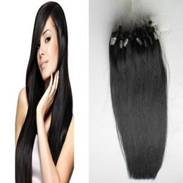 Wholesale Micro Loop Ring Hair Extension - Micro loop human hair extensions 100s Straight Black Micro Link Hair Extensions Human 100g micro ring hair extensions