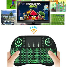 Wholesale Wireless Optical Mouse Blue - Rii I8 Mini Keyboard Wireless Backlight RED Green Blue Light Air Mouse Remote WithTouchpad Handheld For TV Box T95 M8S S905X S905 S912
