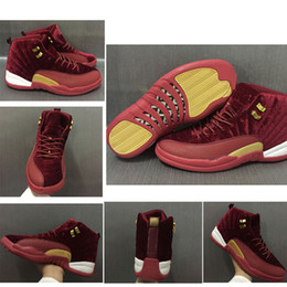 Wholesale wine red boots - 2018 With Box 12 Wine Red Velvet Heiress Basketball Shoes 12s XII Boots Sport Shoes Men Women Trainers Sneakers 36-47