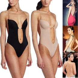Wholesale Padded Body Shaper - Wholesale- Women's Bodysuits Machine Body Shaper Even The Body Suit Underwear Women Sexy Clear Strap Deep Thong Backless Push Worsted Pad